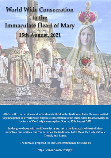 Upcoming Event: Worldwide Consecration to the Immaculate Heart by all TLM communities