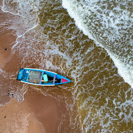 FIsherman's Boat by Edison Pargass - Transportation Boats ( pirogue, waves, sand, ocean, beach, fishing, boat )