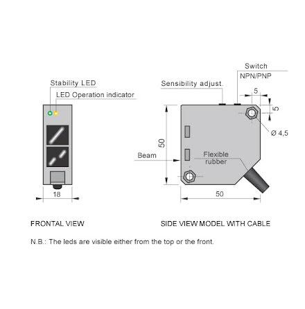 Fotocell mot reflektor, 50x50 mm, PNP/NPN, NO+NC, infraröd