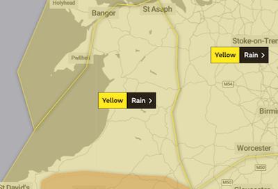 Yellow warning for heavy rain