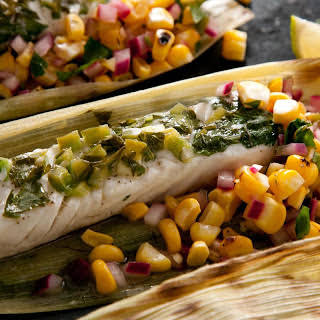 Corn-Husk-Wrapped Grilled Halibut with Charred Corn Salsa.