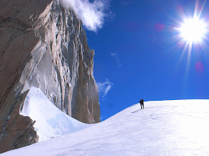 Photo: Kasper on the approach to the base of the Franco-Argentino route on Fitz Roy