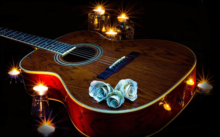 by Matthew Bryce - Artistic Objects Musical Instruments ( fret, neck, wood, paper, drop, glow, flame, candle, accustic, tear, dark, glass, light, flower, black, flicker, white, fold, fire, classical, string, grain, guitar, notes, folded )
