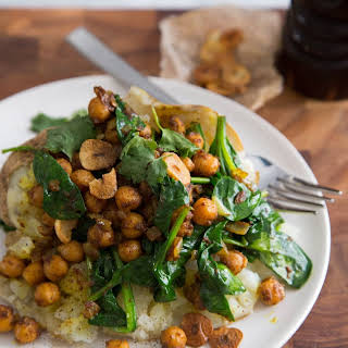 Curried Chickpea & Spinach Baked Potato.