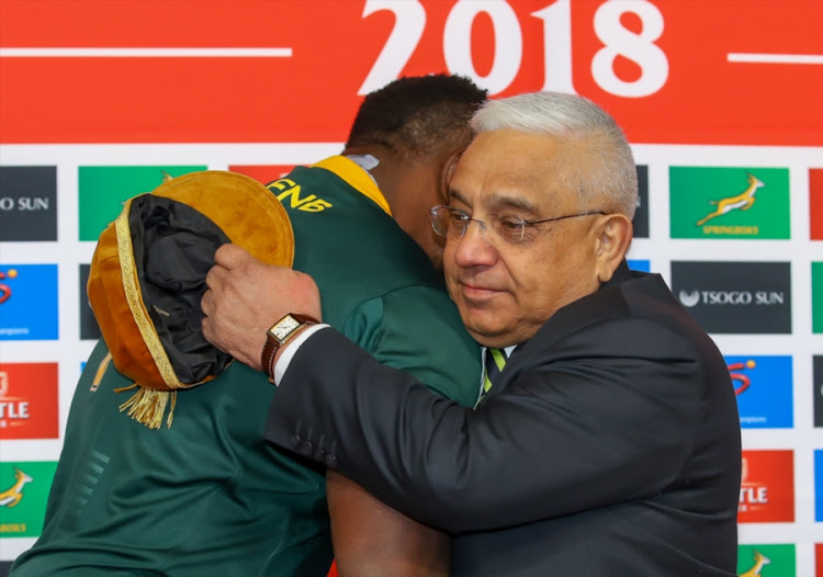SA Rugby president Mark Alexander hand over the golden cap to Tendai Mtawarira during the Castle Lager Incoming Series match between South Africa and England at Toyota Stadium on June 16, 2018 in Bloemfontein, SA.