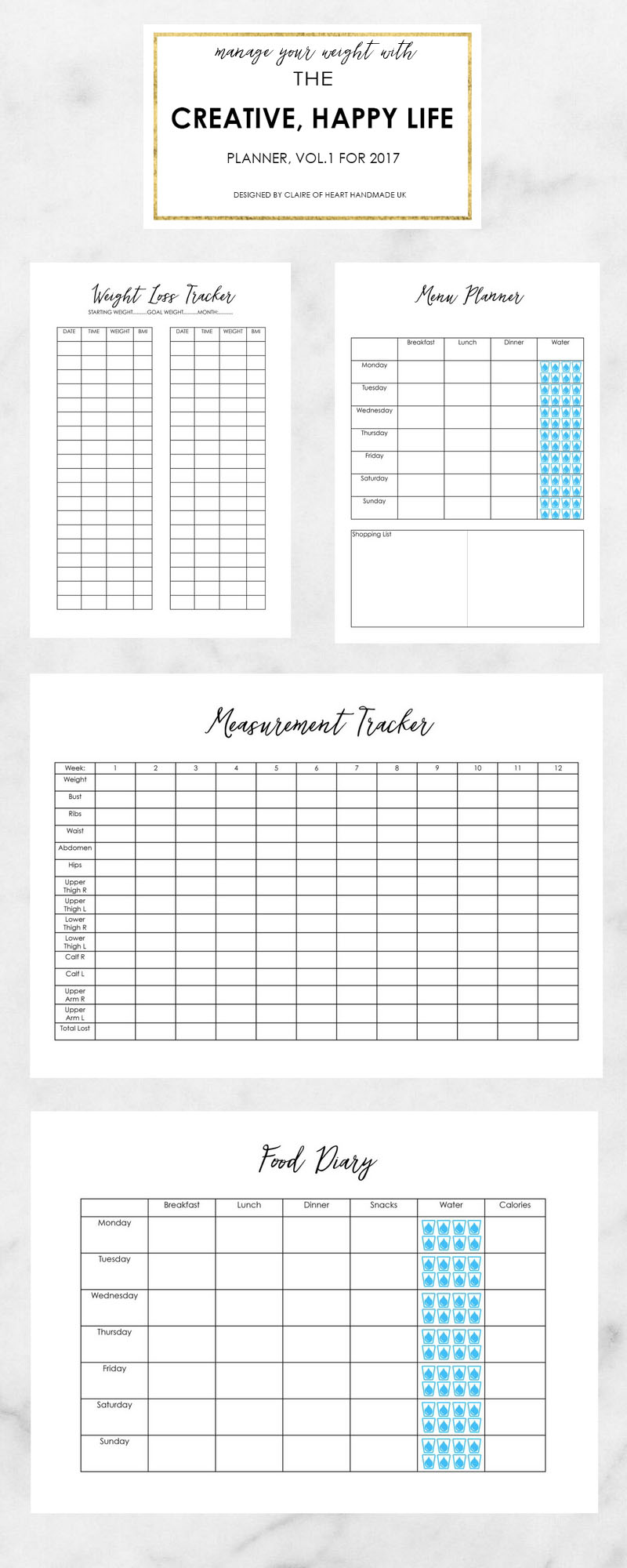 Taking Care Of Your Health - Creative Happy Life Planner 2017 by heart handmade uk