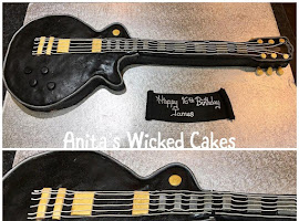 Electric guitar shaped cake