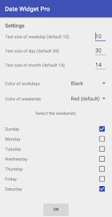 Date widget Pro - náhled