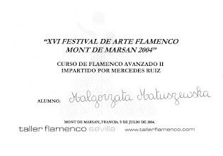 Photo: 2004r. kurs tańca flamenco (tarantos); poziom zaawansowany; prof. Mercedes Ruiz XVI Festival de Arte Flamenco Mont de Marsan