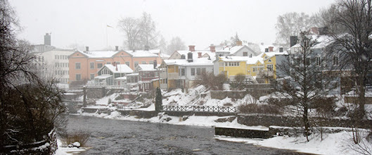 Photo: Gävleån, the Gävle river (and some heavy snowfall)