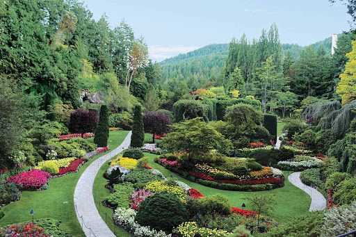 Take a stroll through the famous Sunken Garden at Butchart Gardens in Victoria, BC.