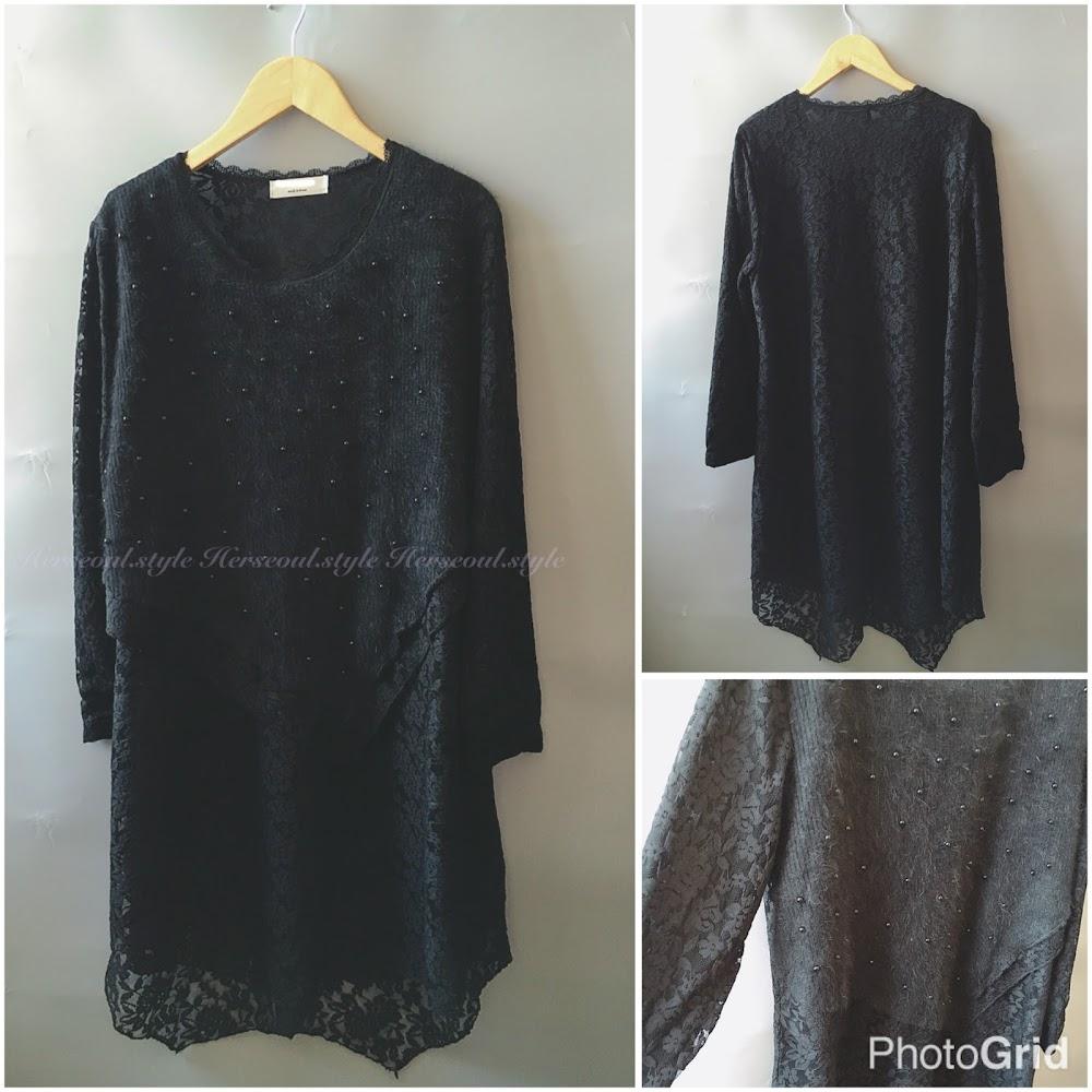 ♣️黑色毛毛珠lace 連身裙♣️