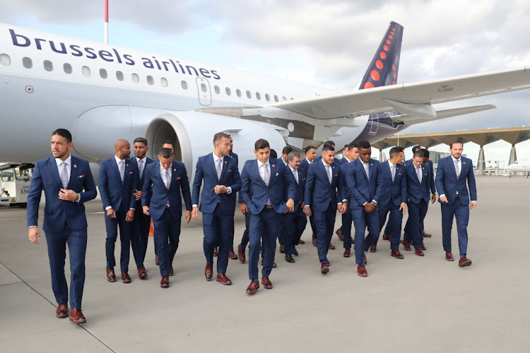 Players of the Costa Rican national football team arrive at St Petersburg's Pulkovo International Airport ahead of the 2018 FIFA World Cup.