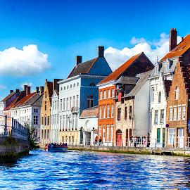 Homes in Bruges by Pravine Chester - City,  Street & Park  Vistas ( vistas, bruges, canal, photography, city )