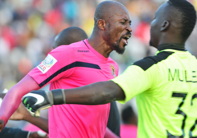 Black Leopards defender Jean Munganga celebrates with goalkeeper Rotshidzwa Muleka after the Limpopo team beat Platinum Stars in the first match of the promotion/relegation playoff match at Thohoyandou Stadium on May 16, 2018 in Thohoyandou, South Africa.
