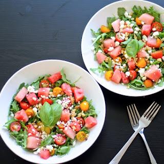 Watermelon, Heirloom Tomato & Feta Arugula Salad