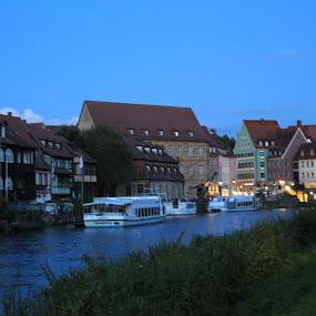 Bamberg at Night by Ashley Rolland - City,  Street & Park  Vistas ( building, skyline, bamberg, night, germany, postcard, architecture, historic, river,  )