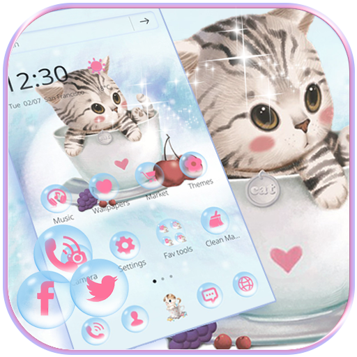 Cute Kitty Theme lovely Cup Cat Wallpaper
