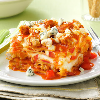 Slow Cooker Buffalo Chicken Lasagna.
