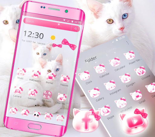 Cute White Kitty Cat Theme for PC