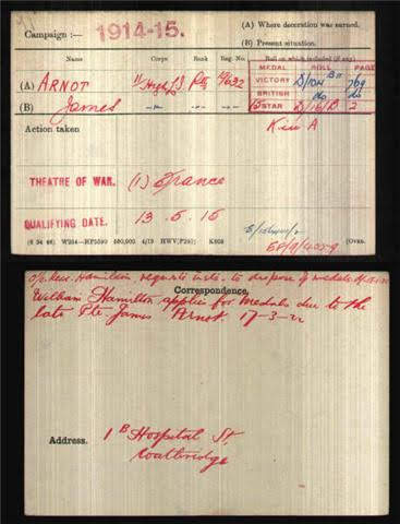 James Arnott's Medal Index Card