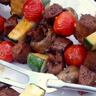 Vegan Teriyaki Seitan and Veggie Kebabs