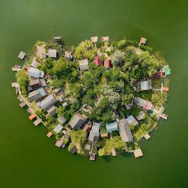 Heart shaped island by Péter Mocsonoky - Buildings & Architecture Other Exteriors ( view, nature, island, buildings, grenn, relax. water. small, aerial, lake, drone )