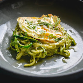 Zoodles With Avocado Pesto And Egg.