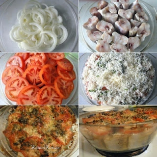 Fish Baked With Tomatoes And Cheese.