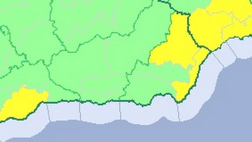 Mapa de alertas en parte de Andalucía y de la Región de Murcia.