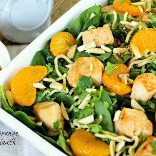 Asian Mandarin Orange Chicken Spinach Salad.