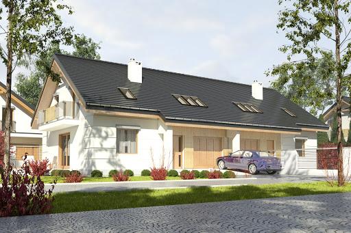 projekt Nowinka III z garażem 1-st. bliźniak A-BL1