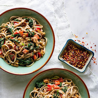 Dan Dan Noodles with Spinach & Walnuts.