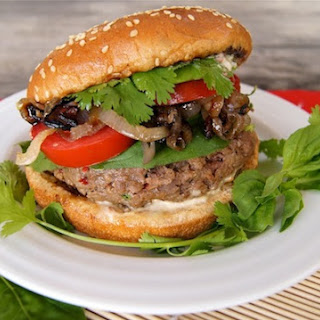 Grilled Spicy Sriracha Burgers with Crispy Shallots and Ginger-Chili Aioli