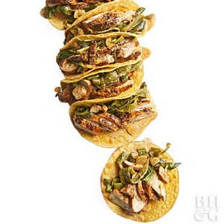 Spice-rubbed Chicken and Poblano Tacos.