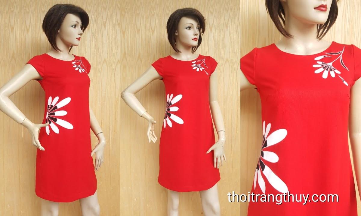 Váy vẽ tay họa tiết hoa dáng váy suông cổ tròn V442 Thời Trang Thủy