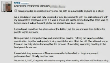 """Photo: Recommendation for Sean Durrant from Craig, an Engineering Programme Manager.  Craig was one of those cases that started as a candidate and ultimately became a client. This meant that he was able to comment on my service from both sides of the equation.  Craig said – """"Sean provided an excellent service for me both as a candidate and as a client.  As a candidate I was kept fully informed of any developments with my application and with my prospective employers even if it was a phone call to let me know that there was no further news. Finding the right job for me couldn't have been easier.  I soon found myself on the other side of the table; I got the job and was then looking for people to join my team.  Sean provided a comprehensive and professional service, helping me to put a suitable specification together and quickly finding candidates who fitted the bill. This allowed me to focus on my daily duties knowing that the process of recruiting was being handled in the best possible manner.  I would definitely recommend Sean as a recruiter to be relied on to give prompt professional and friendly service."""""""