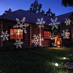 Proiector laser fulgi de zapada albi cu LED RGB pentru exterior