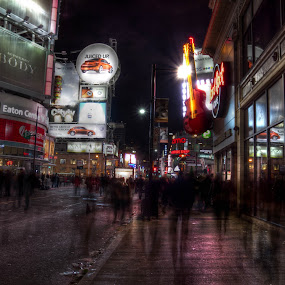 Toronto at Luminato by Trent Sluiter - Landscapes Travel ( hdr, toronto, streets, ontario, places, people, slow shutter, luminato, city )