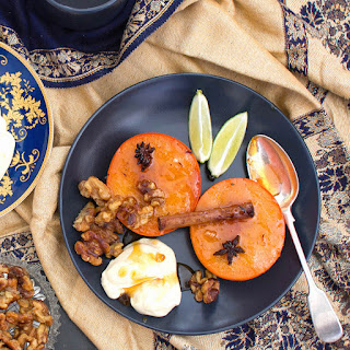 Honey Baked Persimmons with Candied Walnuts & Mascarpone