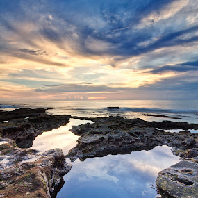 Dramatic sunset by Fariz Mohammad - Landscapes Beaches ( bali, reflection, sunset, beach, sunrise, landscape )