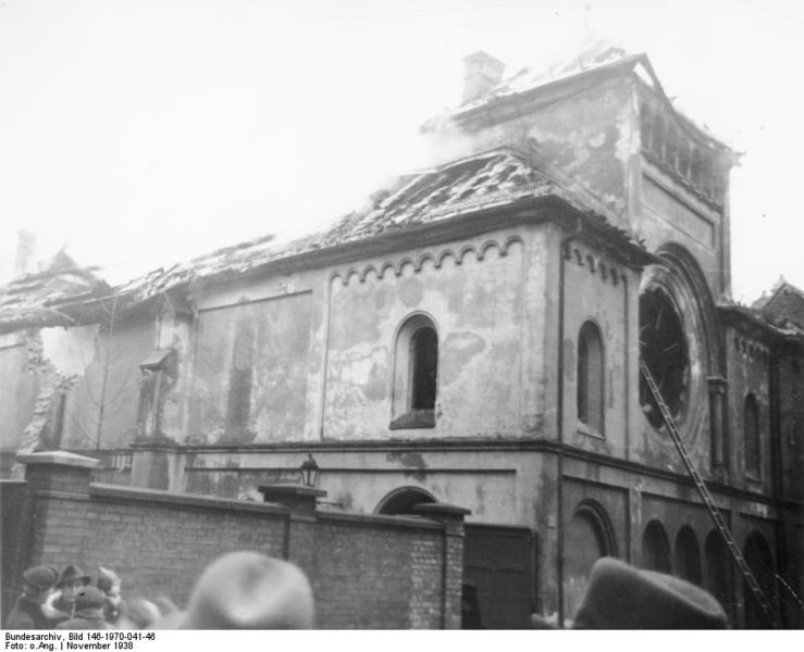 The burned-out shell of a synagogue after Kristallnacht.