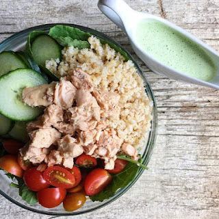 Salmon Bowl with Creamy Garlic Dressing