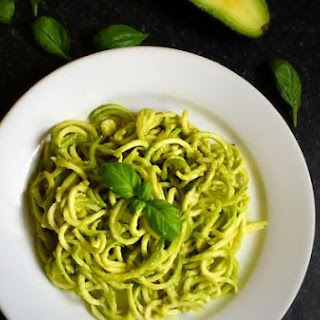 Paleo Zucchini Noodles with Pesto Avocado Dressing