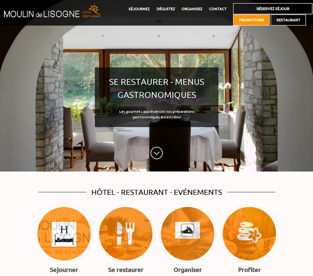 Site booking multilingues en cours de mise en route. Réservation hôtel, gîtes, cabanes et carte restaurant du Moulin
