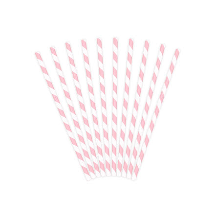 Sugrör - Ljusrosa- och vitrandiga