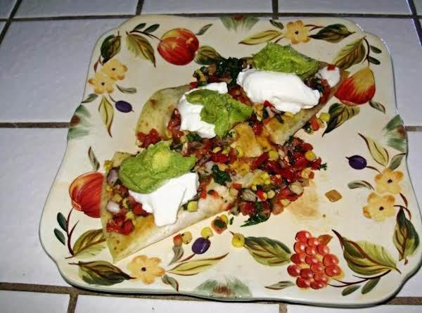 Chicken Cheddar Quesadillas With Tomato And Corn Salsa
