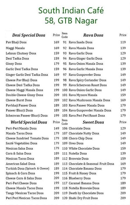 The Great Indian Dosa menu 2
