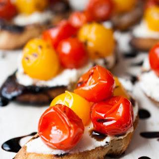 Grilled Mascarpone & Goat Cheese Crostini w/ Burst Tomatoes & Balsamic Glaze
