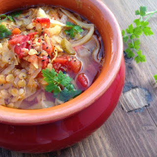 Rustic Tomato Cabbage Soup Recipe with Lentils.